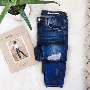 ZARA • Mid-Rise Distressed Slim Fit Skinny Jeans